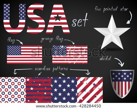 USA theme, flags, stars patterns