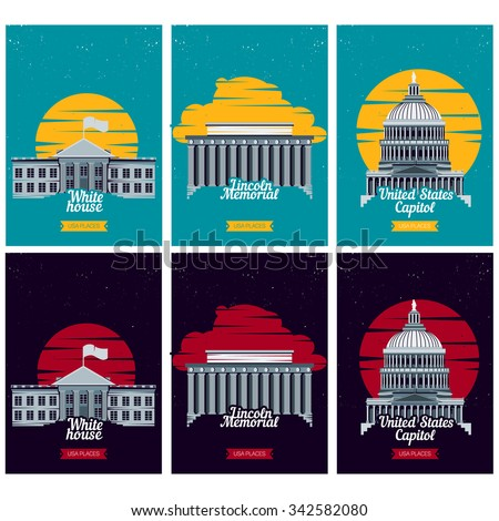 USA tourist destination posters. Vector illustration with American famous buildings in Washington. Banner with Capitol, White House, Lincoln Memorial monument. US traditional symbols and architecture  - stock vector