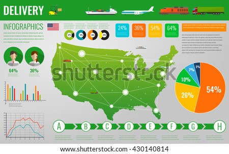 USA transportation and logistics. Delivery and shipping infographic elements. Vector Illustration - stock vector