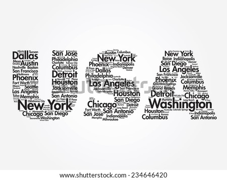USA travel concept made with words cities names, vector collage - stock vector