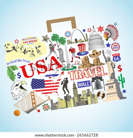 USA travel. Set vector icons and symbols in form of suitcase