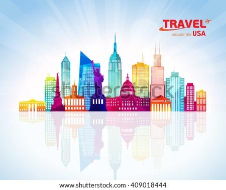 USA travel skyline - stock vector