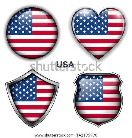 USA, United States flag icons, vector buttons.  - stock vector