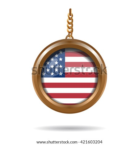 USA (United States) flag in a round gold medallion. Vector illustration