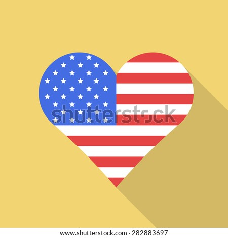 USA,United States of America heart flag flat style with long shadow. Patriotic design. Vector EPS10