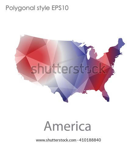 USA,United States of America map in geometric polygonal style.Abstract gems triangle,modern design background. - stock vector