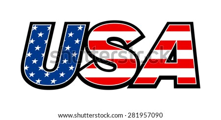 USA United States of America Text Graphic Logo with American Flag Red and Blue Stars and Stripes Pattern