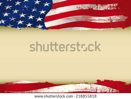 USA used flag. An american grunge flag with a large frame for your message. Ideal to use for a screen - stock vector