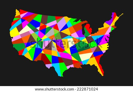 USA vector abstract map with different color, isolated on black background.  - stock vector