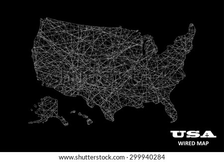 USA Wired Map - Transportation / Communication Concept - stock vector