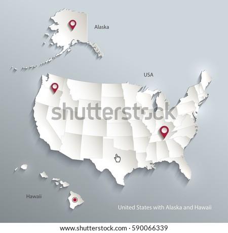 Usa Alaska Hawaii Map Separate Individual Stock Vector - Usa map with alaska and hawaii