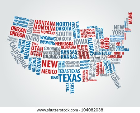 USA word cloud map