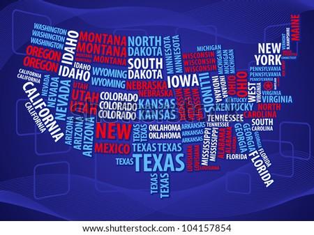 USA word cloud map - stock vector
