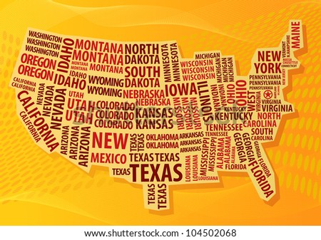 USA word cloud map - stock vector