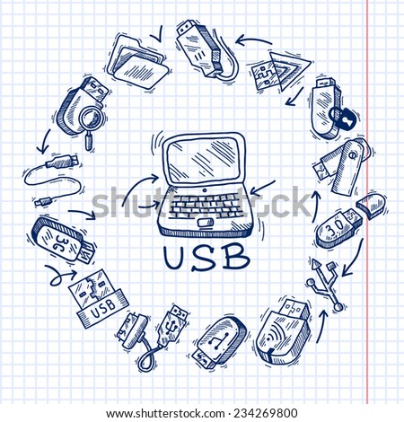 Usb and computer sketch decorative icons set on squared paper background vector illustration - stock vector
