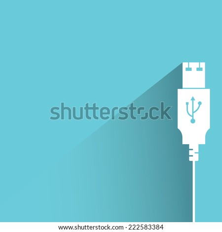 usb cable in blue background, flat and shadow design - stock vector