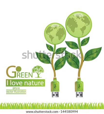 Usb cable. Tree design. Go green. Save world. vector illustration. - stock vector