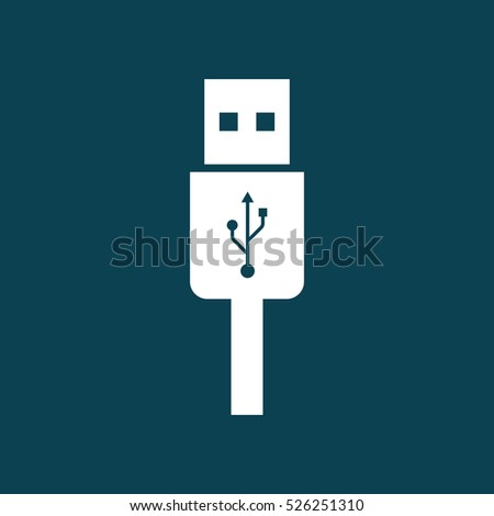 usb charging plug icon on blue background