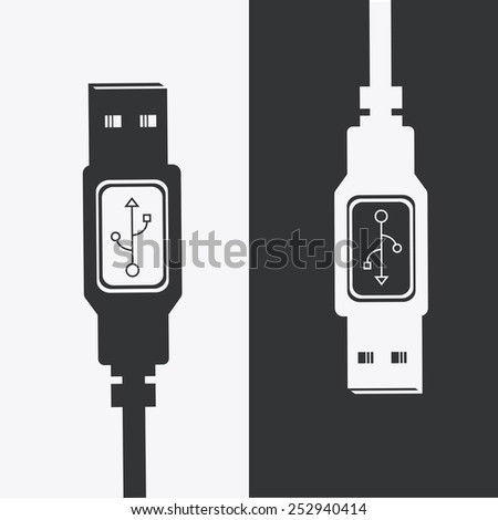 USB design over white background, vector illustration.
