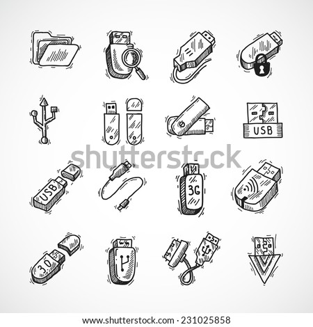 Usb drive computer information technology decorative icons sketch set isolated vector illustration - stock vector