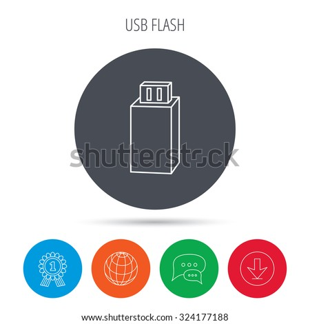 USB drive icon. Flash stick sign. Mobile data storage symbol. Globe, download and speech bubble buttons. Winner award symbol. Vector - stock vector