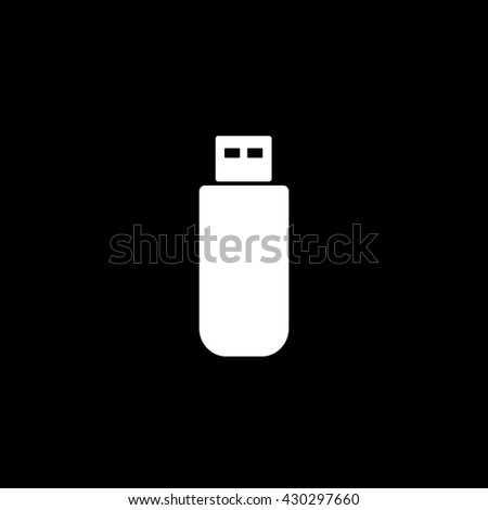 USB Flash Drive Icon On Black Background