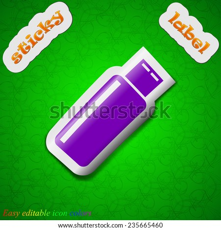 USB flash drive icon sign. Symbol chic colored sticky label on green background. Vector illustration - stock vector