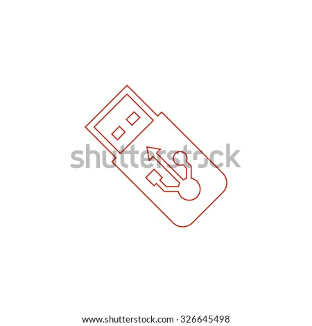 Usb flash drive. Red outline vector pictogram on white background. Flat simple icon