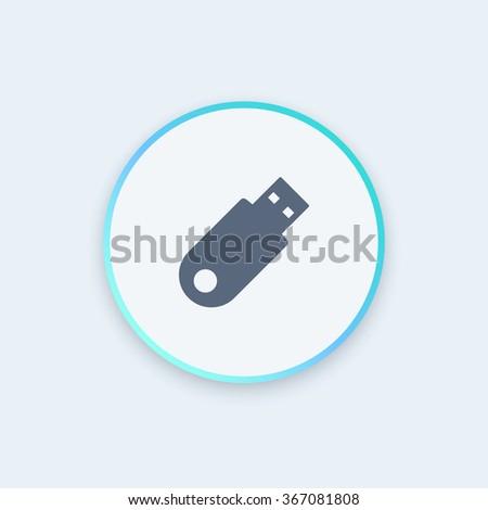 usb flash drive round icon, data backup icon, vector illustration - stock vector