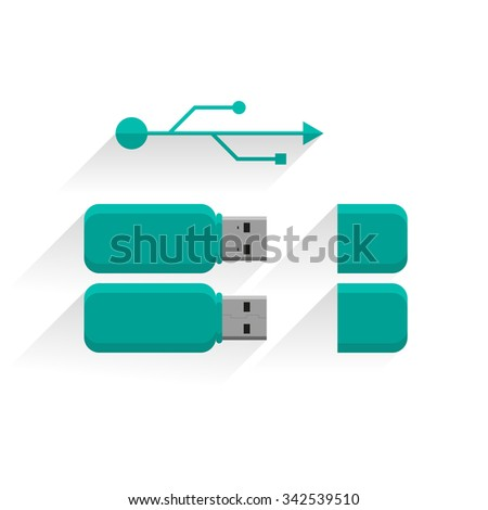 USB flash drive - set with the sign. Portable memory illustration. Flat design. - stock vector
