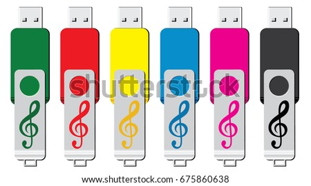 usb flash drive with music icons vector illustration