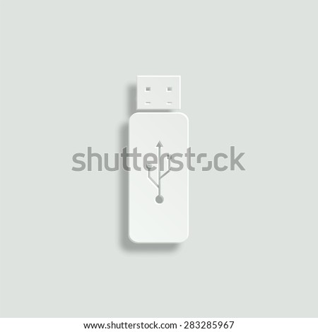 USB flash vector icon - paper illustration