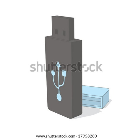 usb (gray & blue object series) - stock vector