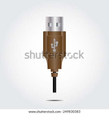Usb icon on a gray background with shadow vector
