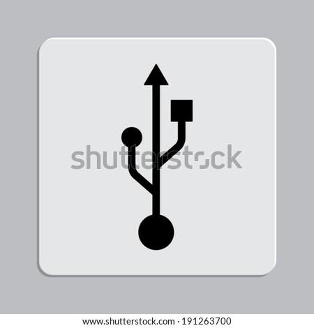 usb icon - vector on a grey flat button - stock vector
