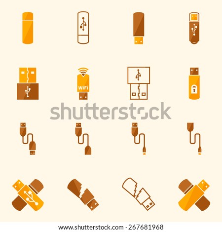 USB icons flat yellow set - vector USB flash, OTG and micro cable symbols or logos - stock vector
