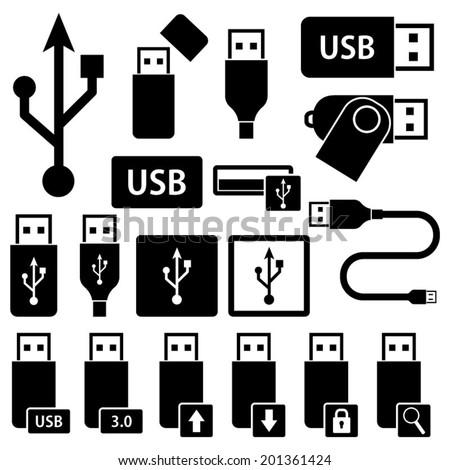 USB Icons Symbols - stock vector