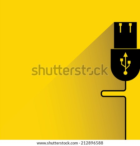 usb plug on yellow background, flat and shadow theme design - stock vector