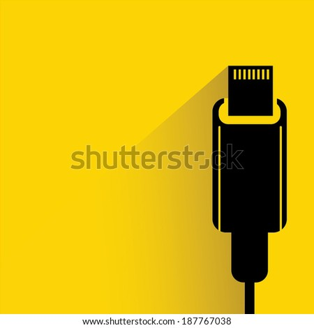 usb plug on yellow background, shadow and flat style - stock vector