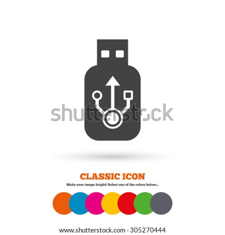 Usb sign icon. Usb flash drive stick symbol. Classic flat icon. Colored circles. Vector - stock vector