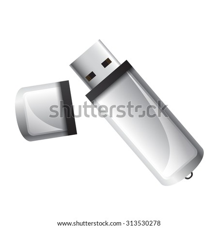 Usb stick isolated on white - stock vector
