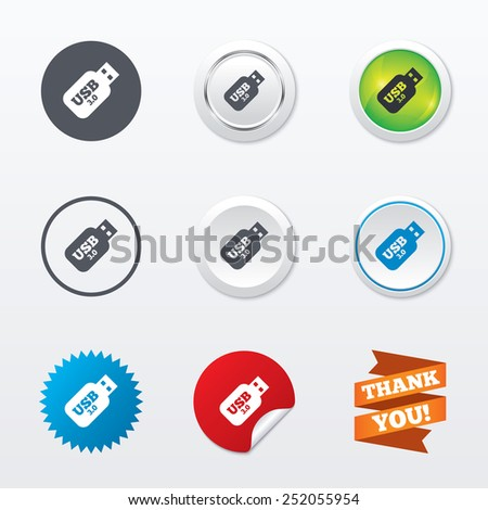 Usb 3.0 Stick sign icon. Usb flash drive button. Circle concept buttons. Metal edging. Star and label sticker. Vector - stock vector