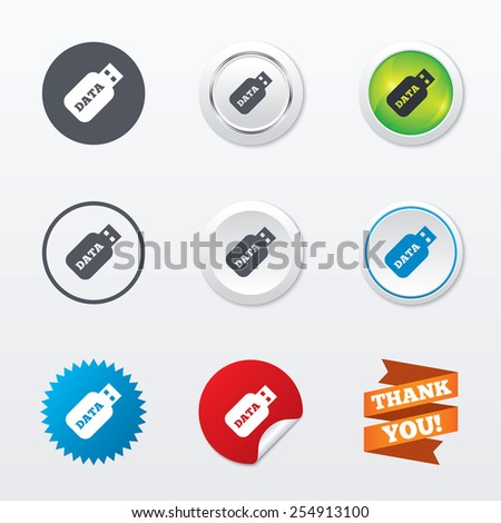 Usb Stick sign icon. Usb flash drive button. Circle concept buttons. Metal edging. Star and label sticker. Vector - stock vector