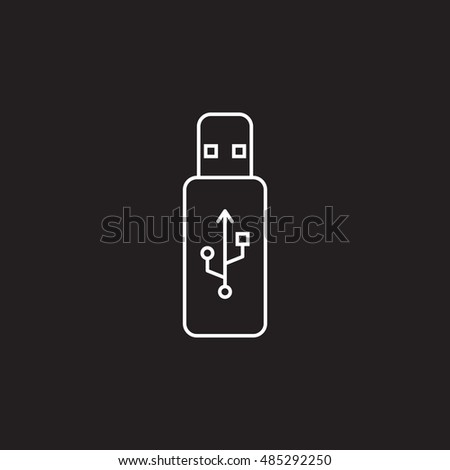 usb stick thin line icon, flash memory outline vector logo illustration, linear pictogram isolated on black