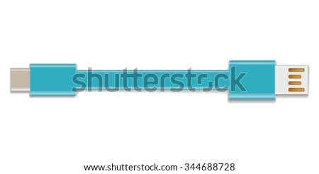 USB type-C cable connector - stock vector