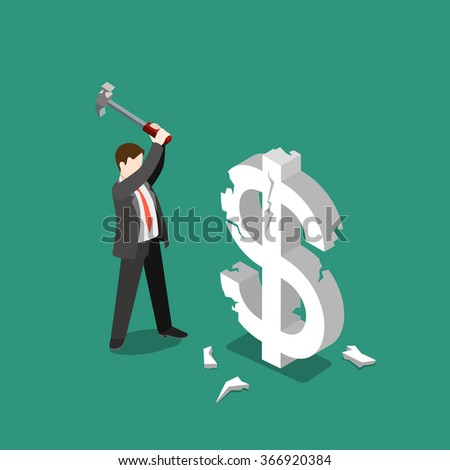 USD currency exchange rate fall fail brake flat 3d isometry isometric marketing business concept web vector illustration. Businessman braking dollar sign with hammer. Creative people collection. - stock vector
