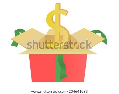 usd of gift box  - stock vector