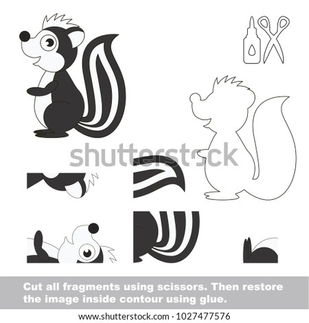 Use Scissors And Glue Restore The Picture Inside Contour Easy Educational Paper Game