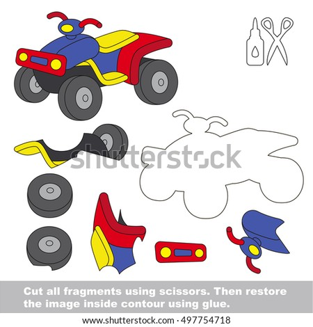 Use scissors and glue and restore the picture inside the contour. Easy educational paper game for kids. Simple kid application with Quad Bike