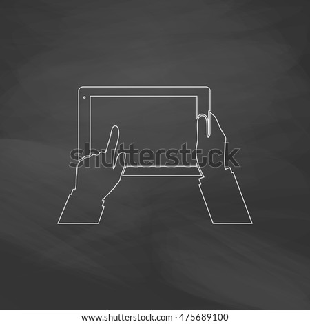 Use Tablet Simple line vector button. Imitation draw with white chalk on blackboard. Flat Pictogram and School board background. Outine illustration icon